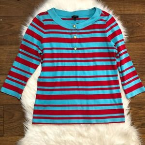 Talbots striped gold button top aqua red large